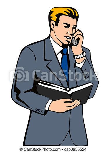 businessman making a call illustration of a businessman rh canstockphoto com Makes Phone Calls Clip Art Boy Phone Call Center Clip Art