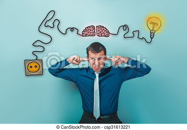 Strange Businessman Man Wrinkled Fingers And Ears Plugged Charging Cord Plug Wiring 101 Swasaxxcnl