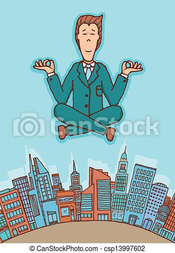 Businessman meditating in peace - csp13997602