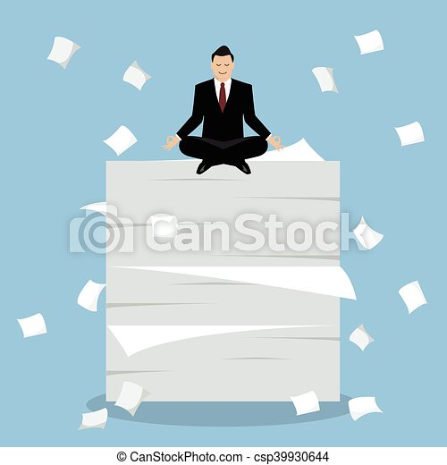 Businessman meditating on a lot of documents - csp39930644