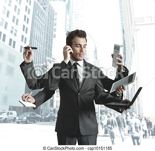 Businessman multitasking - csp10151185
