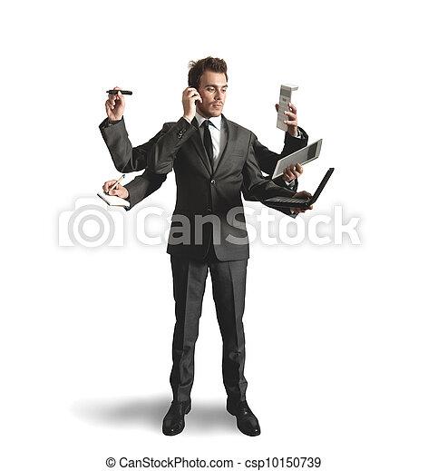 Businessman multitasking - csp10150739