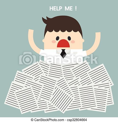 Businessman need help under a lot of white paper, flat design - csp32804664