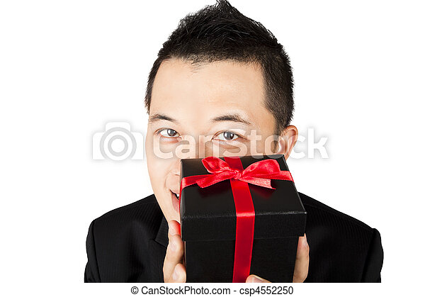 businessman offering a gift  - csp4552250