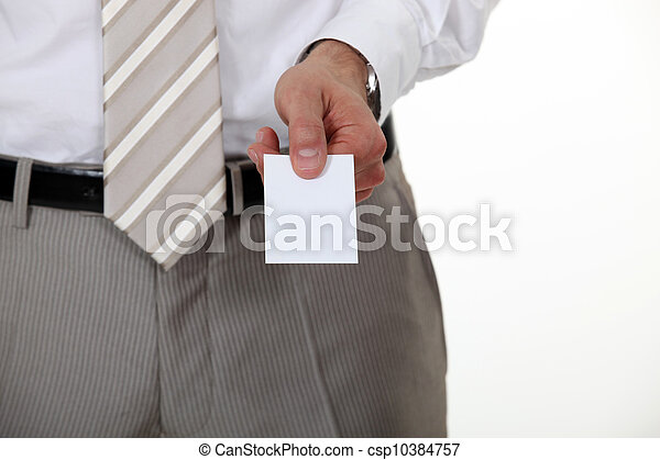 Businessman offering his card - csp10384757