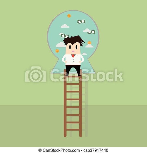Businessman on a ladder to the success - csp37917448