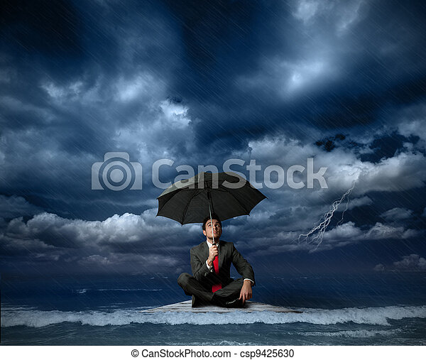 Businessman on a raft - csp9425630