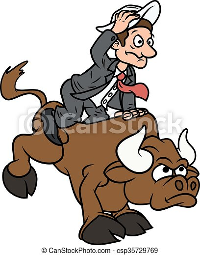 Businessman on bull - csp35729769