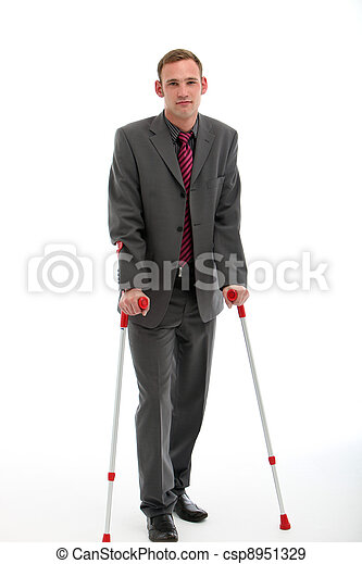 Businessman On Crutches - csp8951329