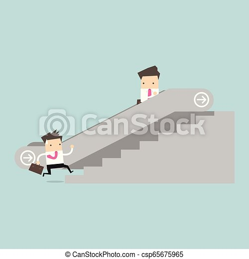 Businessman on escalator and another man climbing the stairs. - csp65675965
