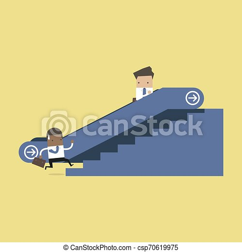 Businessman on escalator and another man climbing the stairs. - csp70619975
