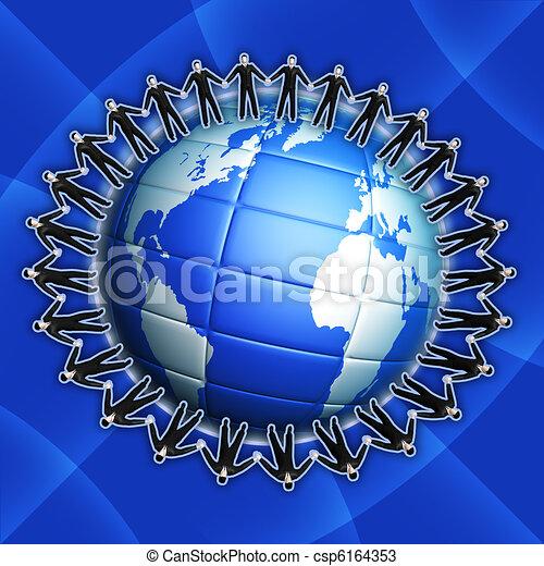 Businessman on globe - csp6164353