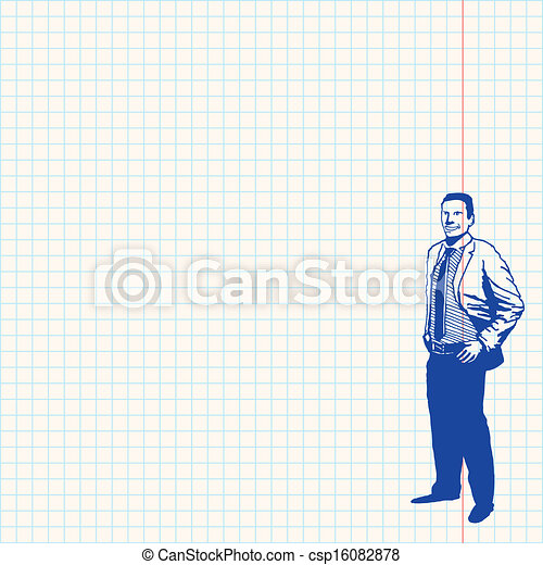 businessman on grid paper blue drawing of man on traditional