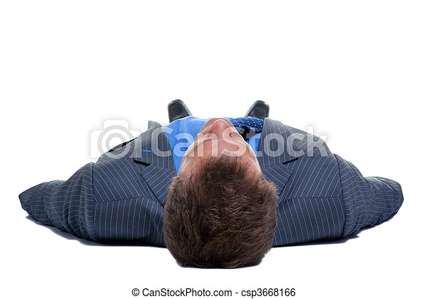Businessman on his back - csp3668166