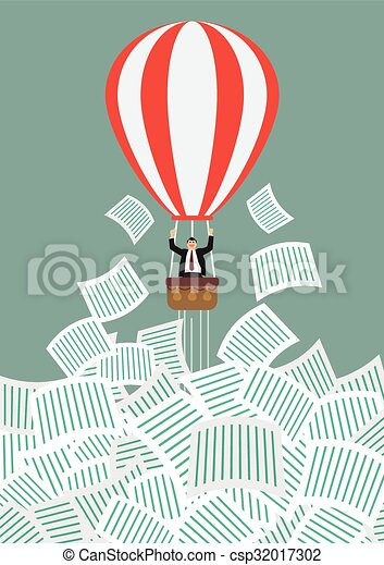 Businessman on hot air balloon get away from a lot of documents - csp32017302