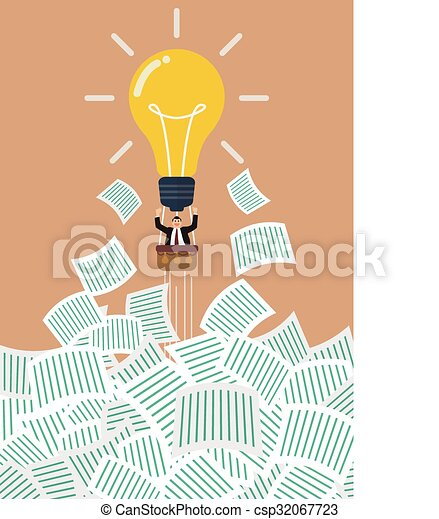 Businessman on lightbulb balloon get away from a lot of documents - csp32067723