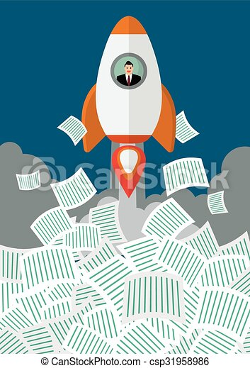 Businessman on rocket get away from a lot of documents - csp31958986