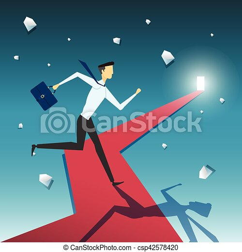 Businessman on the road to success in business - csp42578420