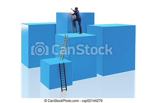 Businessman on top of block isolated on white - csp52144279