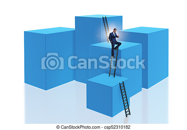 Businessman on top of block isolated on white - csp52310182