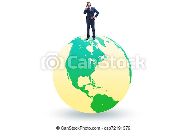 Businessman on top of the world - csp72191379