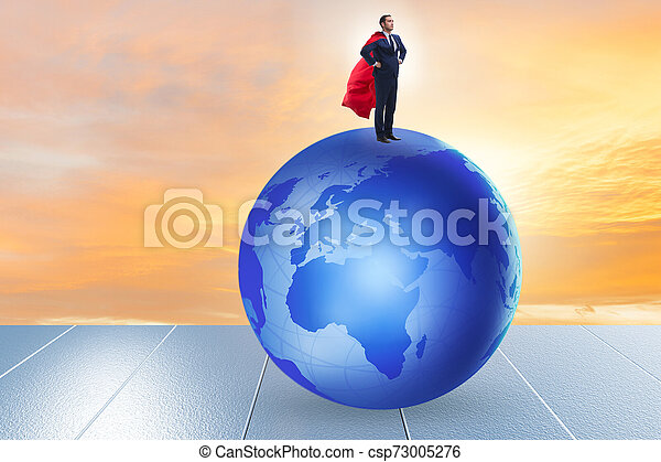 Businessman on top of the world - csp73005276
