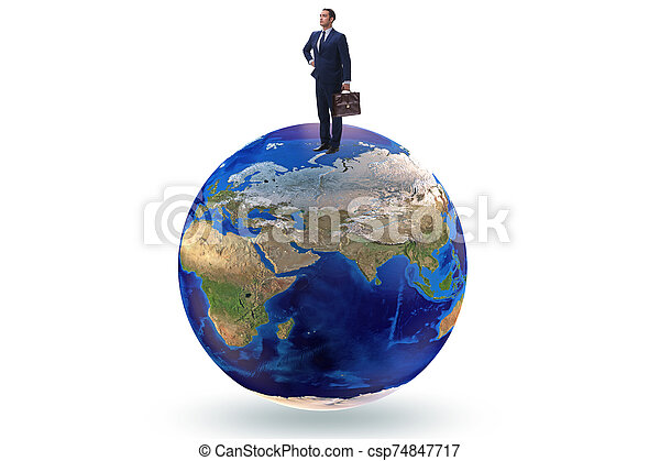 Businessman on top of the world - csp74847717
