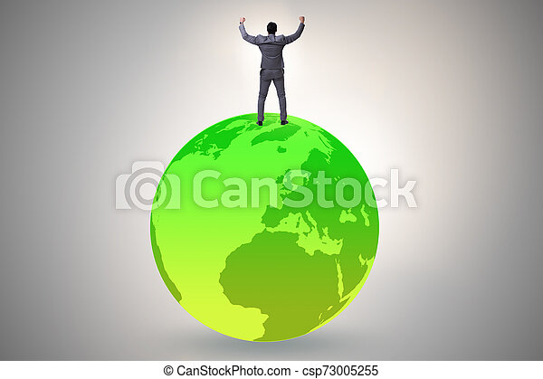Businessman on top of the world - csp73005255