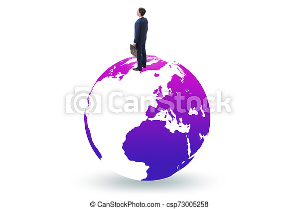 Businessman on top of the world - csp73005258
