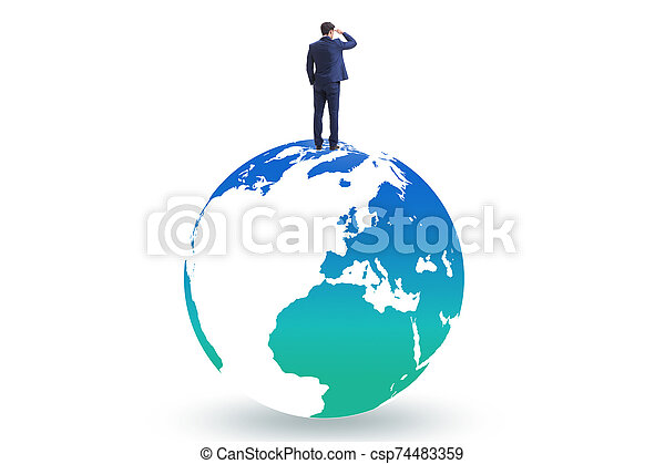 Businessman on top of the world - csp74483359