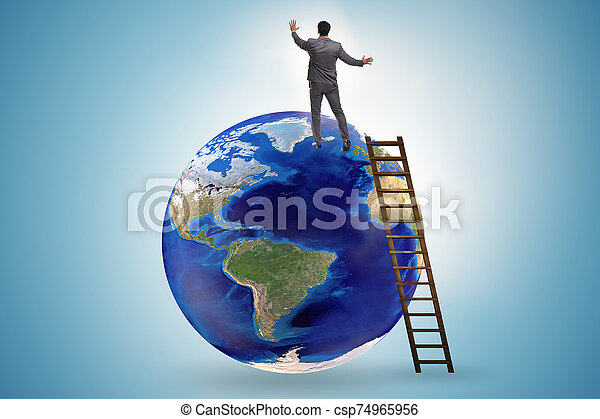 Businessman on top of the world - csp74965956