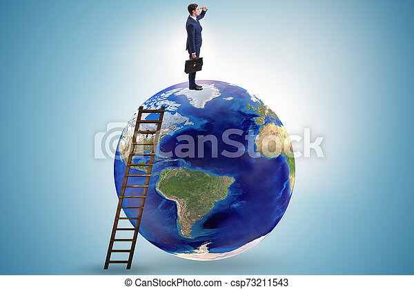 Businessman on top of the world - csp73211543