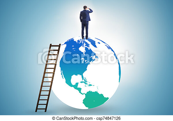 Businessman on top of the world - csp74847126