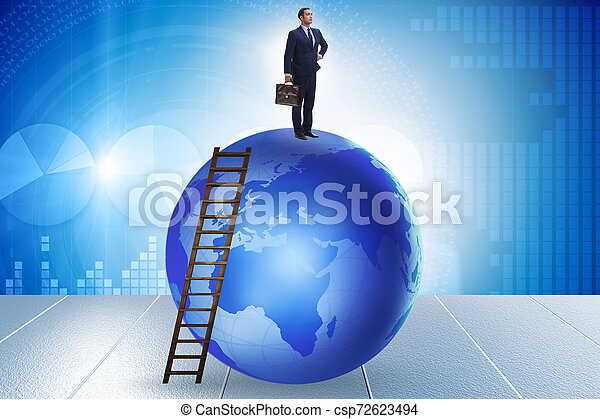 Businessman on top of the world - csp72623494