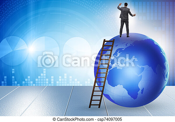 Businessman on top of the world - csp74097005