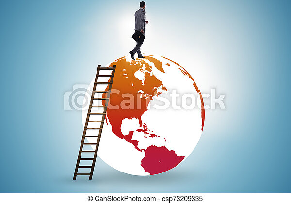 Businessman on top of the world - csp73209335