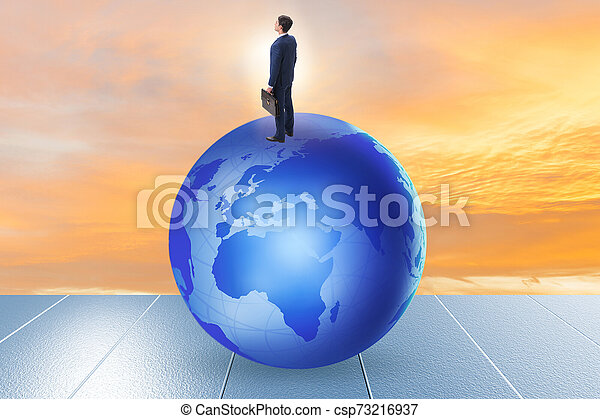 Businessman on top of the world - csp73216937