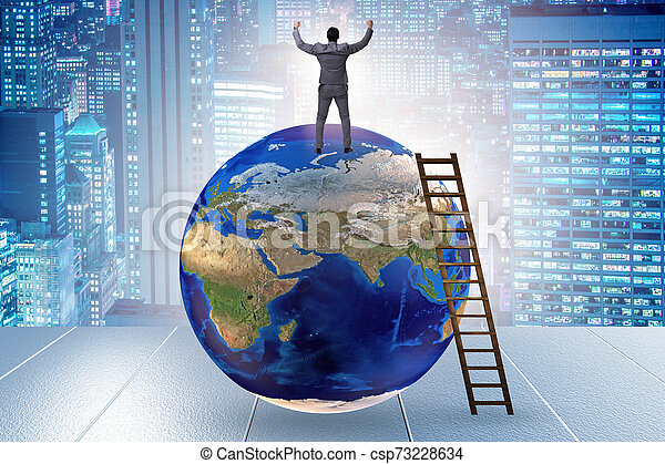 Businessman on top of the world - csp73228634