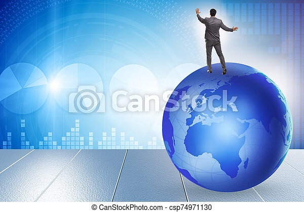 Businessman on top of the world - csp74971130