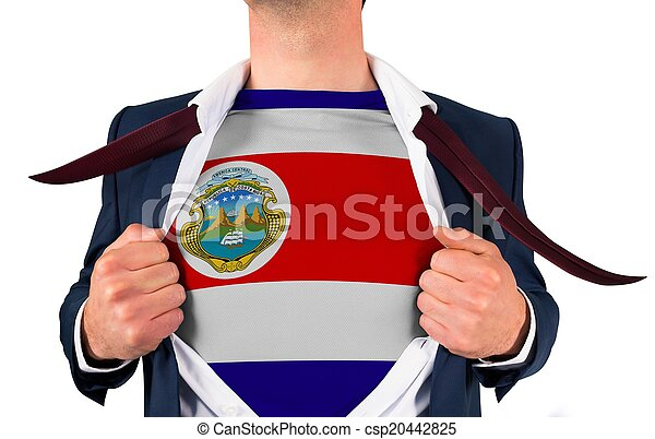Businessman opening shirt to reveal costa rica flag - csp20442825