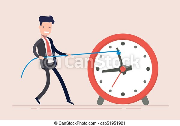Businessman or manager is wasting time. Man is trying to get time back. The businessman failed to fulfill the task in time. - csp51951921
