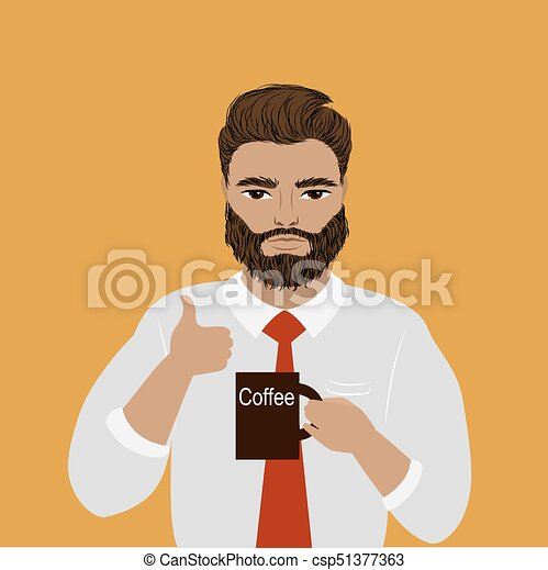 businessman or office worker holding a cup of coffee - csp51377363