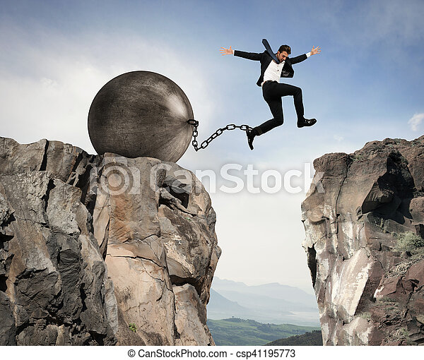 Businessman overcomes obstacles - csp41195773