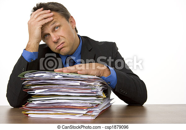 Businessman Overwhelmed By Paperwork - csp1879096