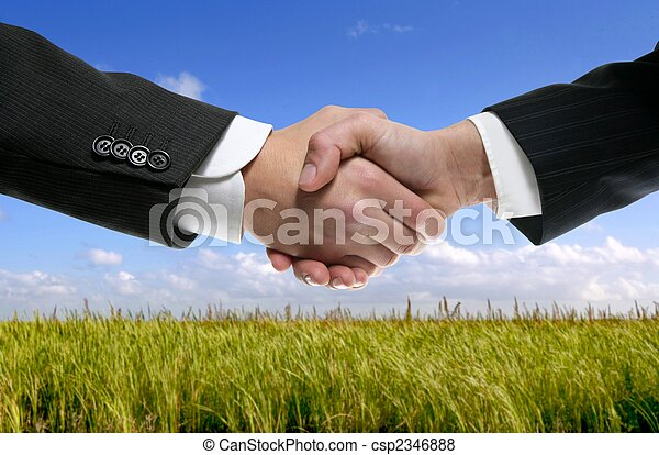 Businessman partners shaking hands in nature - csp2346888