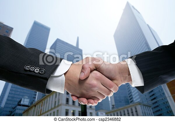 Businessman partners shaking hands with suit - csp2346882