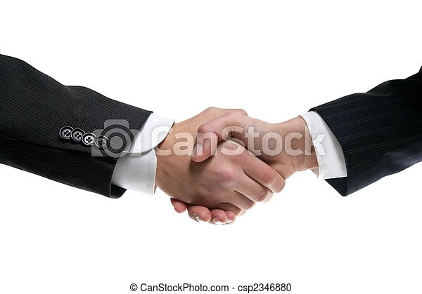 Businessman partners shaking hands with suit - csp2346880