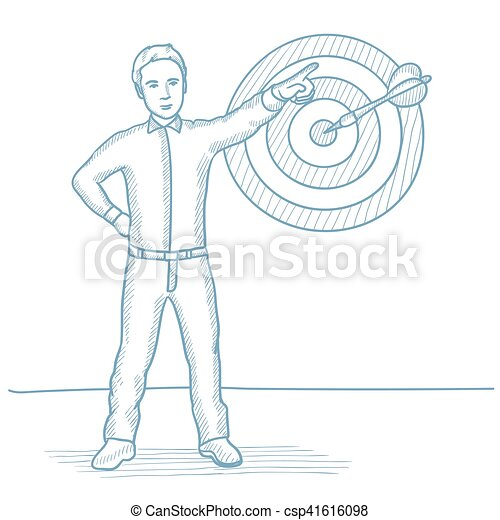 Businessman pointing at arrow in target board. - csp41616098
