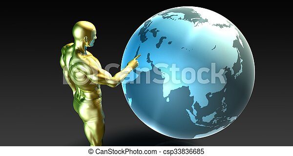 Businessman Pointing at the Middle East - csp33836685