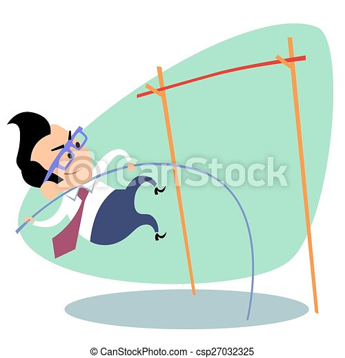 Businessman pole vault height business theme sports - csp27032325